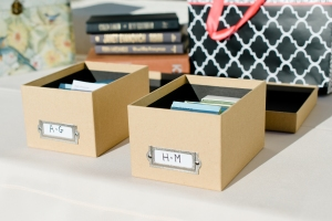 The placecards were laid in library boxes. clever and perfect with the wind.